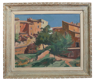 Oil on Board of Provencal Townscape