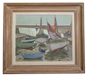 Oil on Board of Boats on Slipway