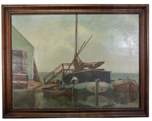 Oil on Canvas of Boatyard