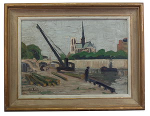 Oil on Canvas of Notre Dame with Crane in Foreground