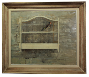 "Oil of Bird in Cage ""Le Prisonnier"""