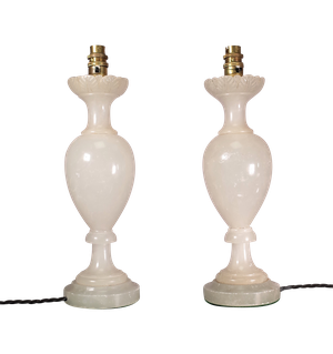 Pair of Baluster Alabaster Table Lamps