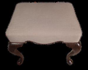 Upholstered Mahognay Footstool on Cabriole Legs