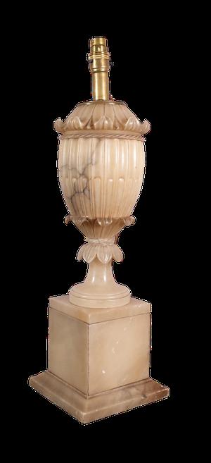 Carved Baluster Alabaster Table Lamp