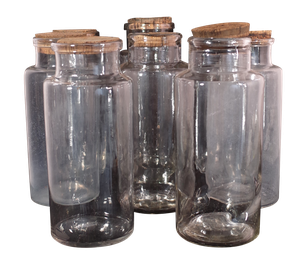 Eight Hand Blown Apothecary Jars
