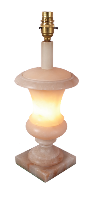 Lidded Alabaster Urn Table Lamp