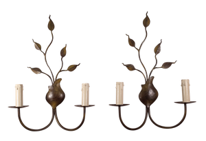Pair of Patinated Vase Wall Sconces