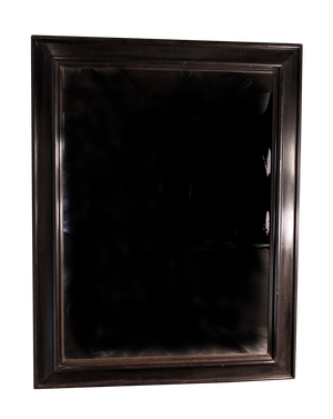 Large Ebony Framed Mirror with Original Plate and Panelled Back