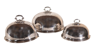 Set of Three Graduating Plated Oval Dome Food Covers by Walker and Hall
