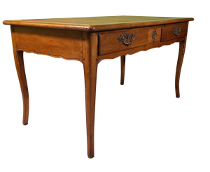 Louis XV Style Walnut Desk with Leather Top