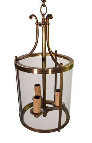Round Glass and Brass Lantern with Three Candle Bulb Fittings