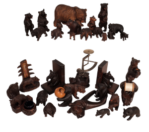 Collection of Thirty Three Carved Blackforest Bears