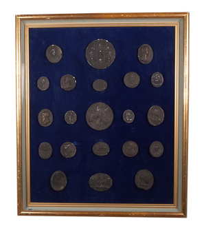 Various Intaglios Mounted on Blue Velvet in Two Giltwood Box Frames