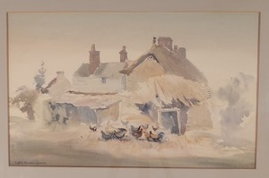 Watercolour of Dorset Cottages signed Sybil Mullen Glover