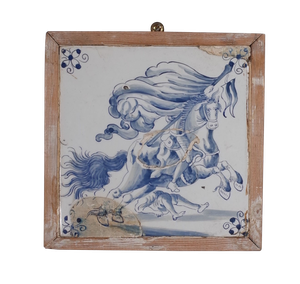 Collection of Six Framed Delft Tiles with Figures and Landscapes with Charming Historic Restoration