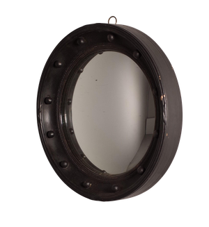 Round Painted Convex Mirror with Ball Decoration