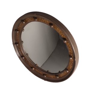 Round Convex Mirror with Faux Tortoiseshell Band and Balls