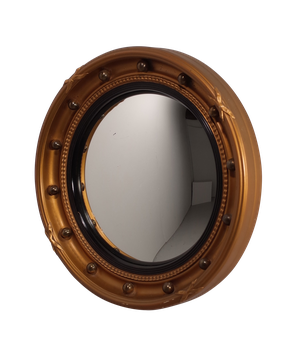 Round Convex Mirror with Gilt Ball Decoration