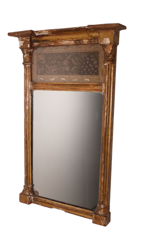 Small Gilt Pier Mirror with Silk Embroidered Panel