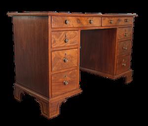Mahogany and Pine Pedestal Kneehole Desk