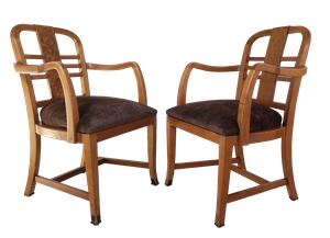 Two Pairs of Deco Beech and Birds Eye Maple Carver Chairs with Seat Pads Upholstered in Velvet