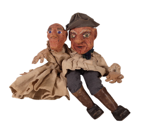 Two Papier Mache Puppets of Farmers in Original Costume