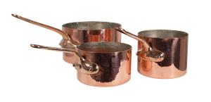 Three Copper Saucepans