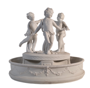 Parian Ware Circular Centrepiece of Three Putti Dancing Within a Large Bowl Decorated with Floral Swags