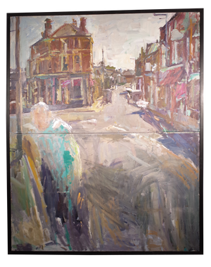 Two Oil Canvasses Framed as One of an Abstract Street Scene of St Margarets in Twickenham