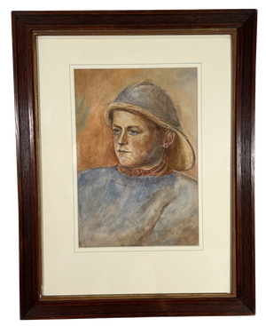 Watercolour of a Fisher Boy Mounted in a Glazed Ribbed Oak Frame