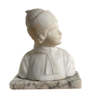 Alabaster Bust of a Child Wearing a Hat and Scarf Mounted on a Carrera Marble Base