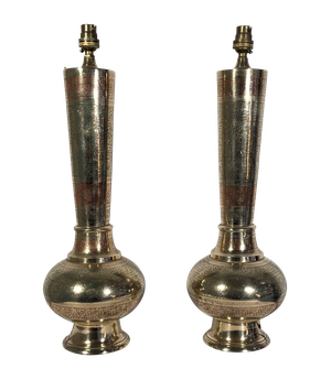 Pair of Brass Engraved Anglo-Indian Lamp Bases