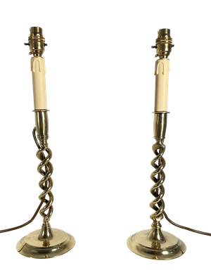 Pair of Brass Wrythen Twist Table Lamps