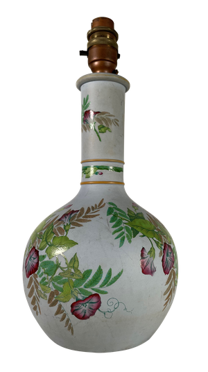 Table Lamp Converted from a Vase, Possibly Prattware and Decorated with Morning Glory Flowers and Foilage