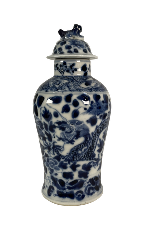Small Chinese Lidded Jar Decorated in Blue with a Dragon on a Foliage and Floral Background