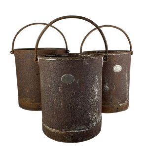 Set of Three Iron Cans with Handles by Lister & Co of Bursley