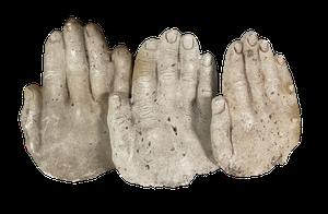 Three Plaster Cast Hands