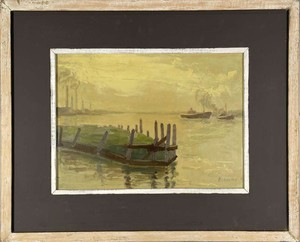 Oil on Paper of Tugs in a Port, signed 'Blamme'