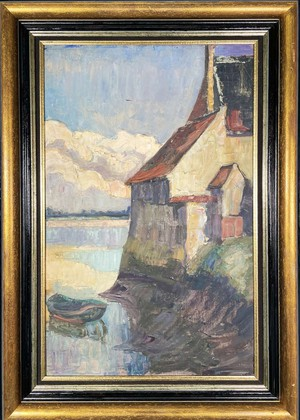 Oil on Canvas of a Loire River Scene with Moored Fishing Boat Next to a Chateau