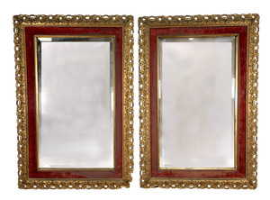 Pair of Carved Giltwood Mirrors with Inner Red Velvet Cushion Frames and Bevelled Plates