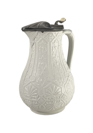 Parianware Water Jug with a Riveted Pewter Lid