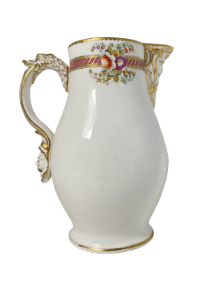 Hand Painted and Gilded Floral Coalport Milk Jug with Mask Face Spout and Handle