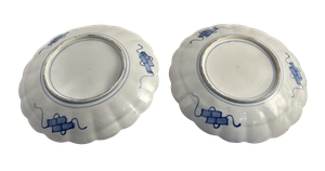 Two Meiji Period Imari Scallop Edged Plates Simarlarly Hand Decorated with Panels of Birds and Foliage