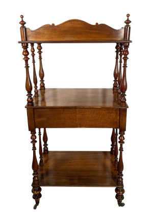 Mahogany Three Tiered Wot Not with Central Drawer and Inlaid Marquetry Decoration