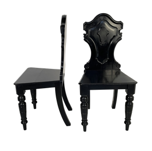 Pair of Ebonised Victorian Hall Chairs on Turned Front Legs