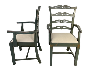 Pair of Carver Chairs with Old Worn Paint fitted with Linen Seats