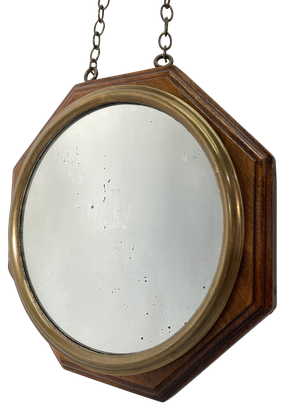 Octagonal Oak and Brass Framed Mirror with Hanging Chain