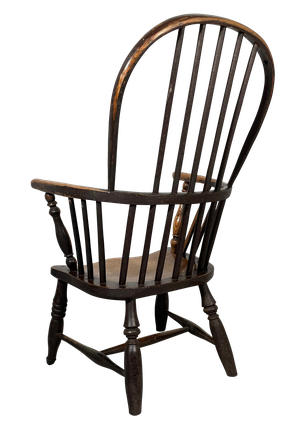 Elm Sackback Windsor Armchair with Old Crusted Paint