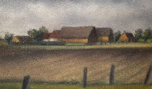 Oil on Canvas of Landscape with Farmstead