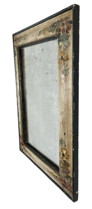 Mirror with Old Hand Painted Floral Frame